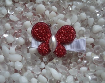 Red Glitter Puffy Butterfly Hair Clip - No Slip Grip - Baby - Toddler - Girl - Teen - Adult Hair Clip