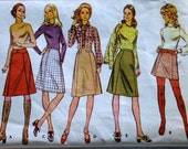 vintage 70's McCall's 2982 A line skirt and shaped belt, waist 29