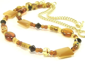 Eclectic Beaded Necklace, Amber Gold Honey Beaded Necklace, Woodland Necklace, Unique Necklace, For Women, Handmade Beaded Jewelry