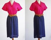Vintage Color Block Dress --  Pink and Navy Blue Shirtdress -- Short Sleeve Dress -- Medium