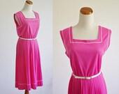 Vintage Pleated Dress  -- 80s Sleeveless Pink Knit Dress -- Jacket Set -- Large XL