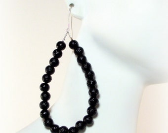 Black Sparkle Pearl Beaded Hoop Earrings - Black Earrings - Black Hoop Earrings