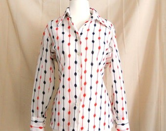 Vintage 1970s White Blue Orange Long Sleeves Button Down Shirt Sz M