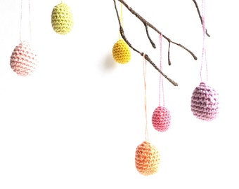 Easter eggs decor - Easter ornaments - pastel colors - spring decorations - home decor - pastel eggs - crochet eggs ornaments - set of 6