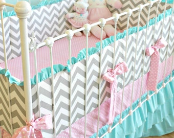 Candy Chevron Custom Crib Bedding, 3-Piece Baby Bedding Set for Unique Baby Girl Nursery in Turquoise Pink and Gray Chevron