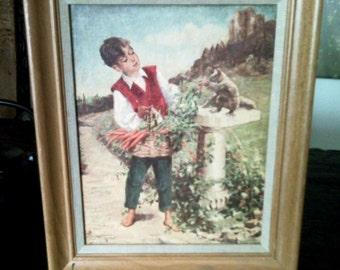 Beautiful Vintage Country Life Scene on Wood Frame Farmer Boy Feeding squirrel