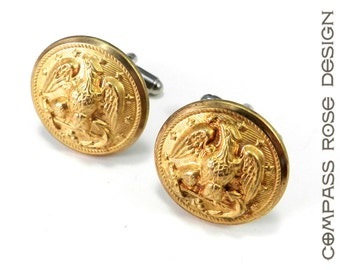 Mens Cufflinks Soldered Antique Military Eagle Uniform Buttons WWII Antique Shiny Polished Brass by Compass Rose Design