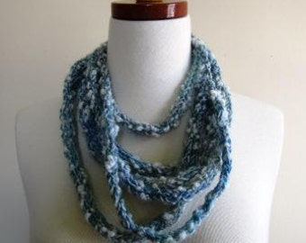 CLEARANCE Cowl Rope Necklace Wool Boho Hand Knit Small Scarf Blue Rustic - Size Small
