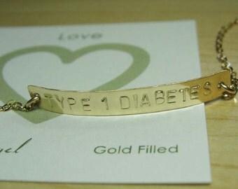 Medical Bracelet Type 1 Diabetes Bracelet Gold Medical Alert Type 1 Diabetic Bracelet Hand stamped Med Bracelet Medical Jewelry Allergy ID