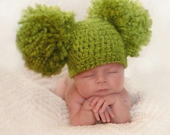 Newborn Oversized Pom Pom Hat, Big Double Pom Pom Hat, Baby Photography Prop