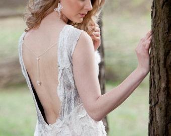 Unique Wedding dress - Bridal Dress -  Nuno Felt Dress Dreamy Wedding Original white and latte color merino wool White silk Women dress