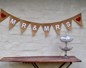 MR & MRS Banner wedding decoration Hessian Burlap Wedding Celebration Party Bunting photo prop garland reception country wedding rustic