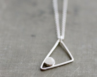 Triangle with Moonstone Accent on Sterling Silver Chain Necklace