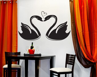 Vinyl Wall Decal Sticker Swans in Love 1038s