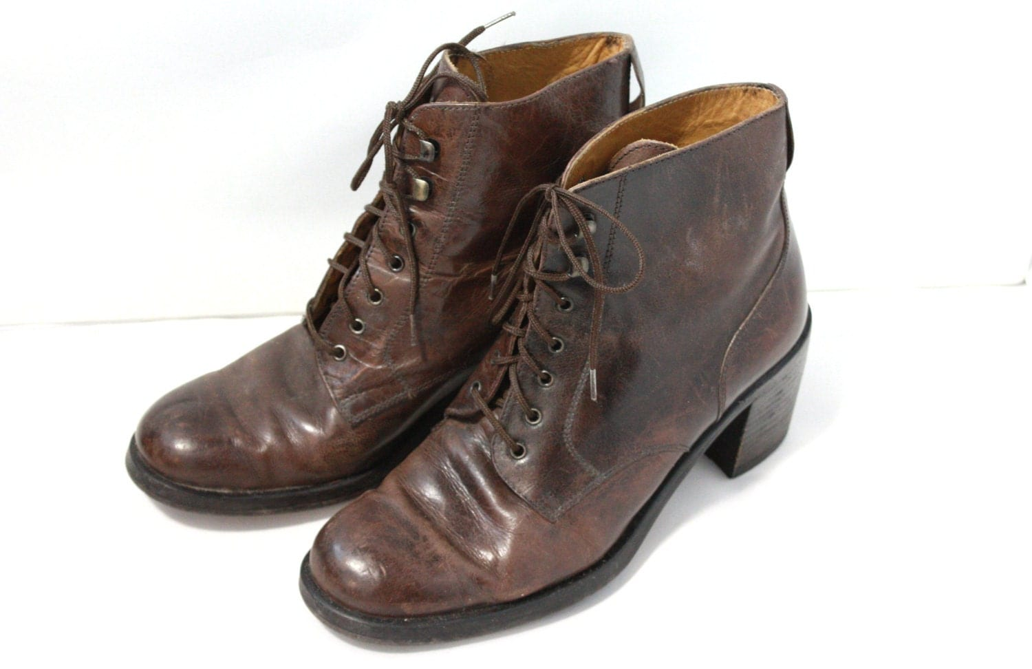 brown leather roper lace up boots amazing womens size 8