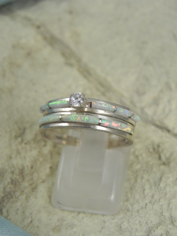 Native American Opal Wedding Ring Set by hollywoodrings on Etsy