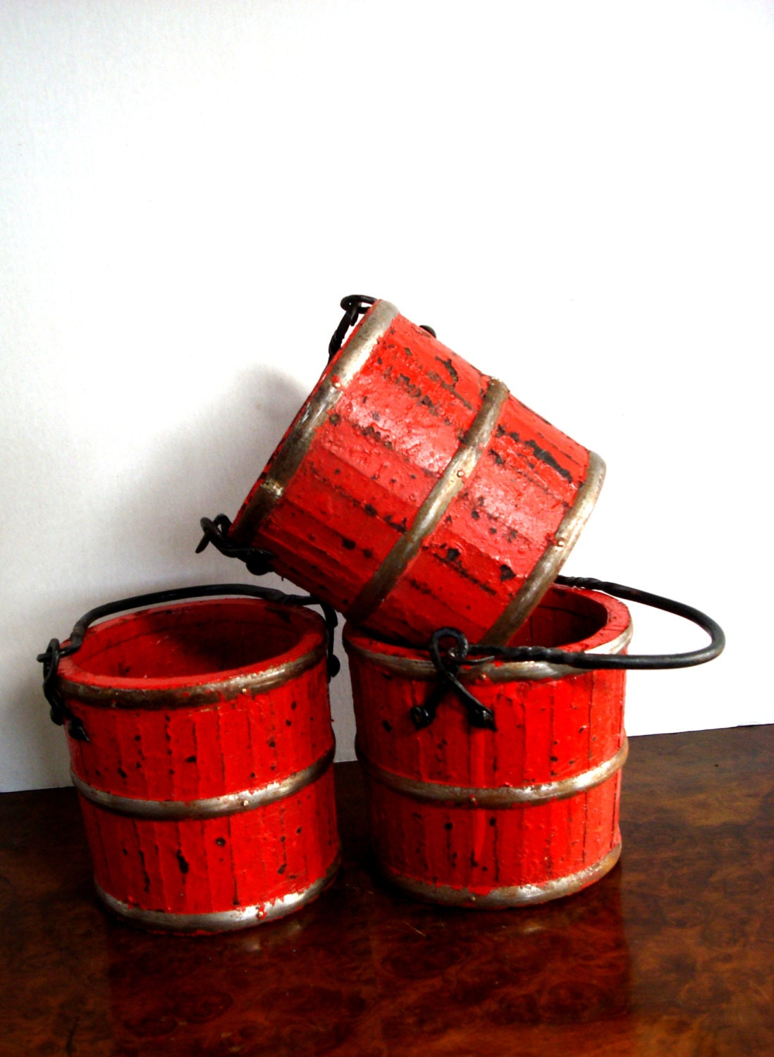 Vintage Miniature Red Rice Bucket with Hand by ChaseVintage