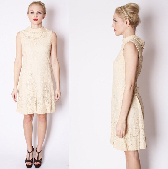 Crochet ecru lace 1960s mod shift wedding dress by aiseirigh for Shift dress for a wedding