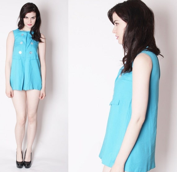 60s Vintage Mod Micro Mini Short Babydoll Turquoise Dress