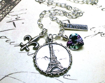 ON SALE - Dreaming of Paris Necklace - Eiffel Tower Coin with Charms Pendant - All Sterling Silver and Swarovski Crystal - OOAK
