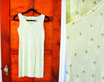 Vintage 90s Daisy Grunge Tank Dress Size Small Lime Green
