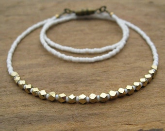 Dainty Gold & White Necklace, modern minimalist layering necklace with white seed beads and golden brass