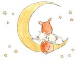 Golden Slumbers 8x10 Nursery Art Illustration Print,