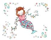 Under the Sea I -- Mermaid Bubbles Nursery Art Print