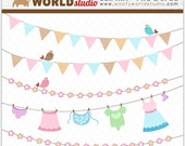 Chic Baby Laundry Baby Shower Clipart - INSTANT DOWNLOAD - Digital Clip Art - WA202C6a