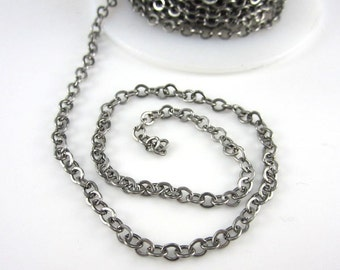 TierraCast 4x2.5mm Antique Silver Plated Flattened Cable Chain (1 foot)
