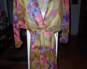 80s DECISIONS--Tropical Print Dress--Floral Print--Chiffon Ruffles--Sheer--Size 6