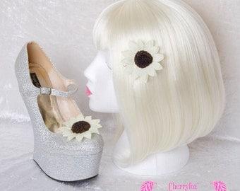Sunflower Hair Clip & Shoe Clips Set. White, Cream, Yellow, Flower, Bride, Bridal Accessories, Goth, Lolita, Rockabilly, hairclip, shoeclips