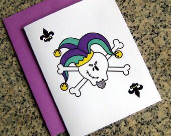 mardi gras skull and crossbones jester joker cards (blank or custom printed inside) with purple envelopes - set of 10