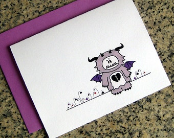 anti valentines day anti love monster and dead heart garden cards (blank or custom inside) with colored envelopes - set of 10