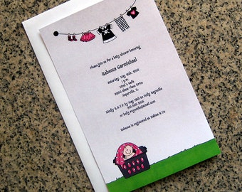 punk rock goth baby girl in a laundry basket clothesline baby shower fully custom invitations with envelopes - set of 10