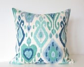 Django Turquoise Ikat ivory blue decorative pillow cover