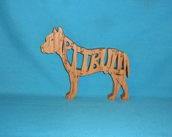 Pit Bull Dog Scroll Saw Wooden Puzzle