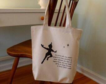 Peter Pan tote bag, Disney Tote bag, Peter Pan, J. M. Barrie Peter pan