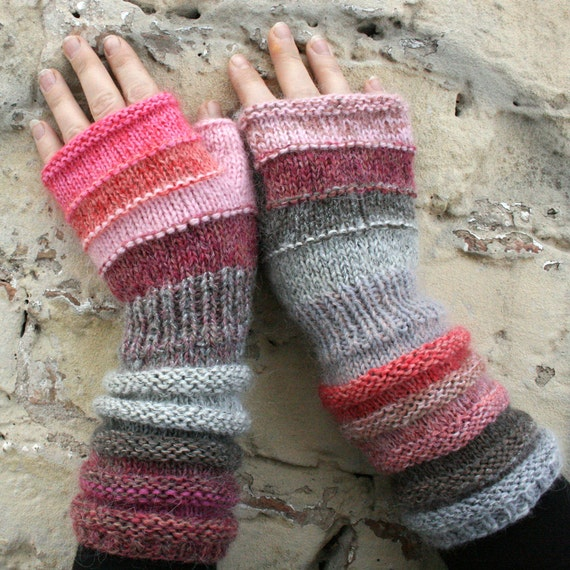 Bubblegum Unmatched Hand Knit Wrist Warmers Fingerless Mittens in upcycled wo...