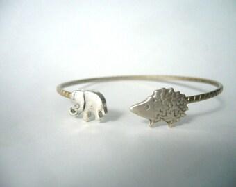 hedgehog wrap bracelet with an elephant, hedgehog bangle, animal bracelet, charm bracelet, bangle