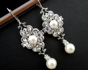 Pearl Earrings Bridal Earrings Ivory swarovski Pearls Pearl Rhinestone Earrings Bridal Pearl Earrings wedding  Rhinestone Earrings CLAUDE