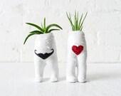 Antique I Heart Mustache Twins - Air Plant Garden Love - Vintage German Dolls - Live Headless Planters