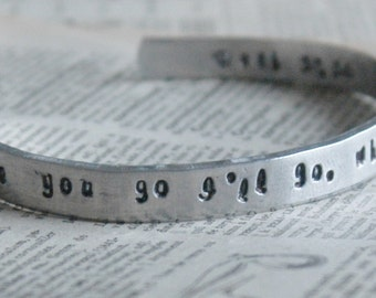 Custom Hand Stamped Cuff Bracelet In Aluminum -Personalized By Inspired Jewelry  Designs