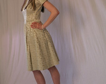 "Vintage 50s/60s Party Dress in Sage Mint Green Brocade, ""Betty"" Mad Men Dress"