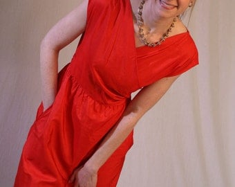Vintage 60s Red Silk Wrap Dress by Stanley Korshak Chicago