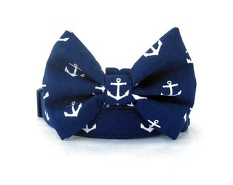 Navy Blue Bow Tie Dog Collar  - Anchors on Navy