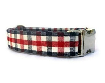 Gingham Dog Collar  with Nickel Plate Hardware - Red White and Blue American Gingham