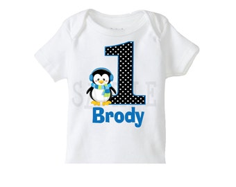 Penguin Birthday Tshirt or Onesie 1st Birthday Penguin  TShirt or Bodysuit Boys or Girls