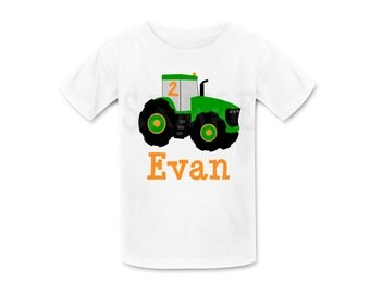 Farm Tractor Birthday Shirt or Bodysuit Farm Tractor Tshirt by The Trendy Butterfly