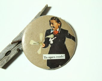 Vintage Collage Art Button- Free Spirit